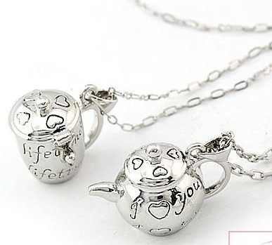 Perfume Locket Teapot and Cup Necklaces(Sold in per pairs)