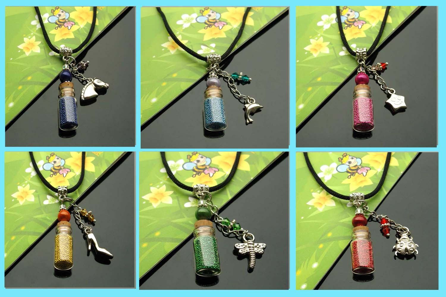 stickers body tribal bottle Necklaces Handmade jewerly Tribal fashion Pendant with blanks