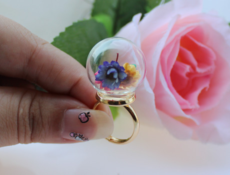 20MM Glass Globe Rings(Assorted Ring Base Colors)