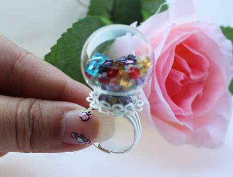 25MM Glass Globe Rings(Assorted Lace Ring Base Colors)