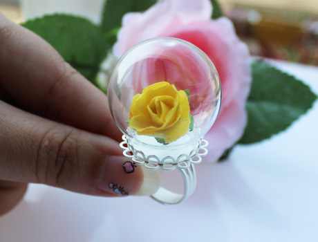 30MM Glass Globe Rings(Assorted Lace Ring Base Colors)