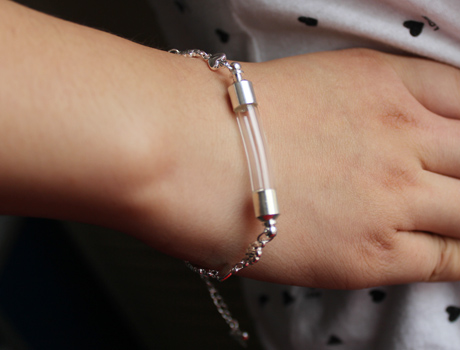 Glass Vial Bracelets (6MM Curve Vial,Preglued silver-plated screw caps)