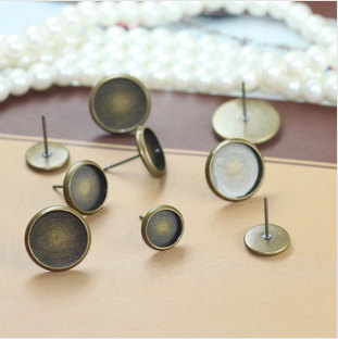 8/10/12/14MM Antique Bronze Bezel Ear Stud