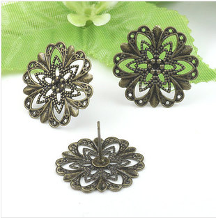 20mm Antique Bronze Round Flowers With Loops Ear Studs