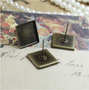 10/12mm Antique Bronze Copper Square Earwires Ear Studs