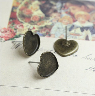 10/12mm Antique Bronze heart Ear Stud Earring Not Inserted