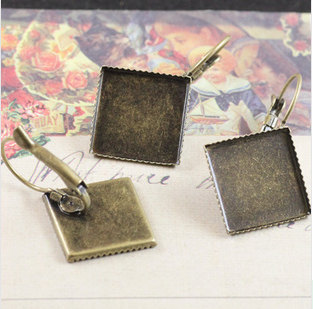 12/15MM Antique bronze Square Ear Clip