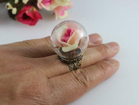 25/30MM Clear Glass Globe Shaped Bottle Antique Brass Adjustable Ring