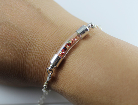 Glass vial bracelet with Acrylic Diamond Beads inside(6MM glass curve vials,preglued silver-plated screw caps)