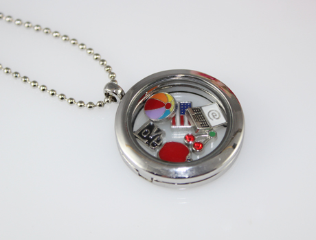 30mm glass locket necklace with floating charms inside wish locket 30mm glass locket necklace with floating charms inside aloadofball Image collections