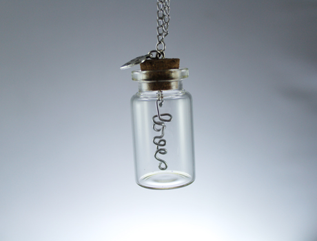 40x22MM Glass Bottle necklace with Infinity wire LOVE Inside