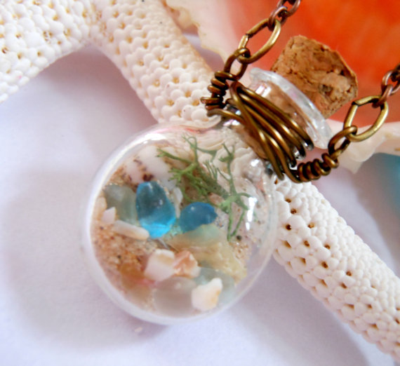 lake michigan beach sand and sea glass shell necklace diy