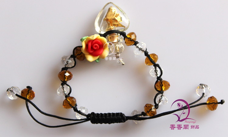 Murano Glass Perfume Vial Bracelets With Gold Foil Inside