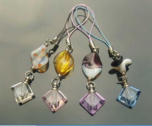 Murano Beads Cellphone Straps with crystal vials(Assorted)