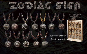 Zodiac Leather Necklace Kit(sold in per package of 12 pcs, assorted designs)