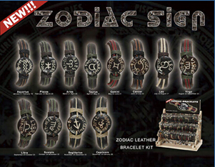 Zodiac Leather Bracelet kit(sold in per package of 12 pcs, assorted designs)