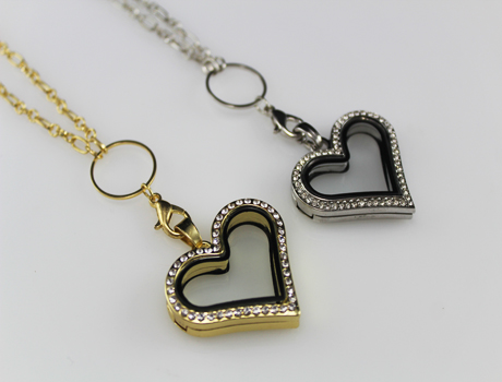 36X32MM Large Heart Glass Locket Necklace