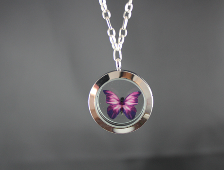 30MM Glass Locket Necklace With Butterfly Inside