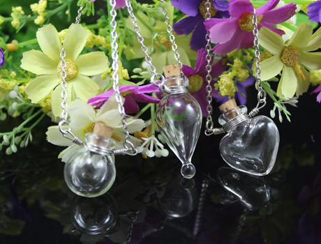 Essential Oil Necklaces Perfume Vial Pendants Plated Pendant Blank Tray Display Vials Fragrance