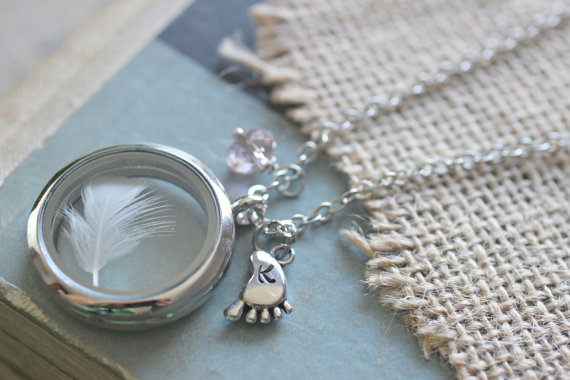 New Mom Necklace-Lock of Baby Hair Keepsake Locket