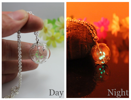 20/25MM Glass Ball Real dandelion Glowing necklace