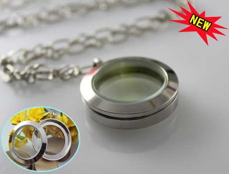 25mm Stainless Steel Twist Screw Floating Locket Necklace