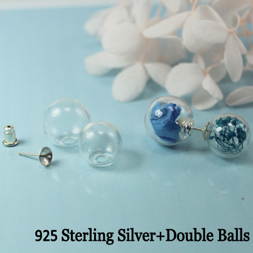 Double Sided Glass Ball 925 Sterling Silver Earring (sold per pair)