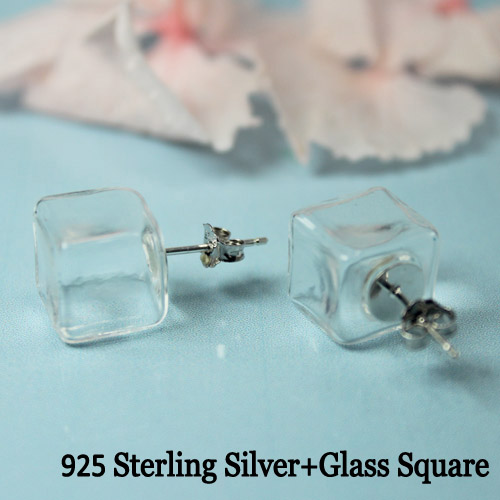 10MM Mini Square 925 Sterling Silver Earring (sold per pair)