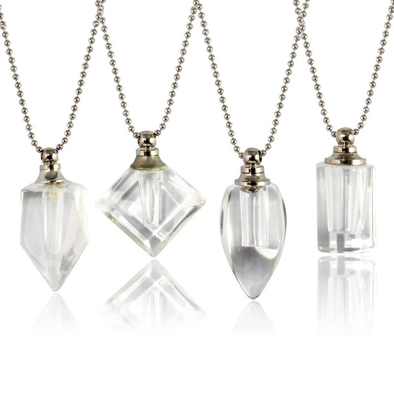 Clear Vials with Necklace Chain