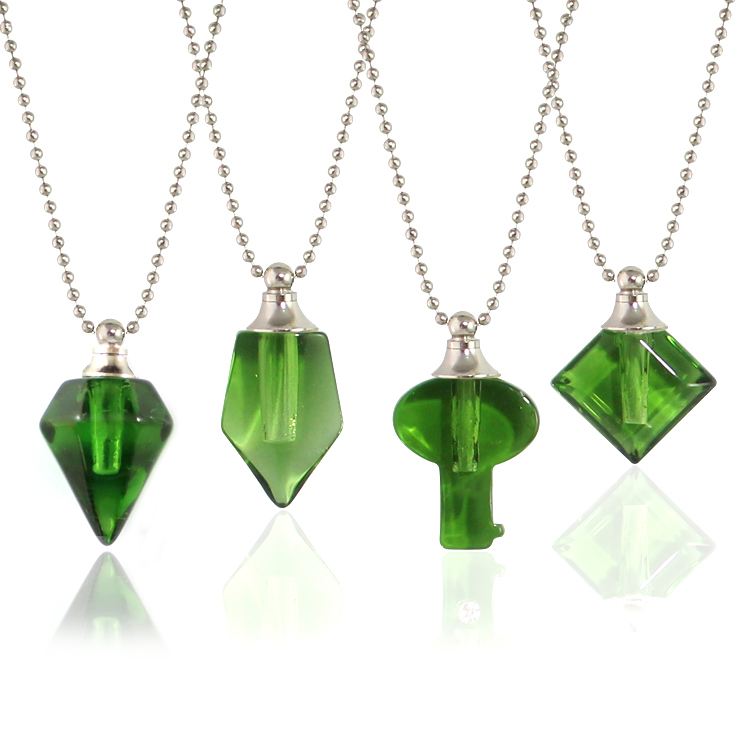 Green Vials with Necklace Chain