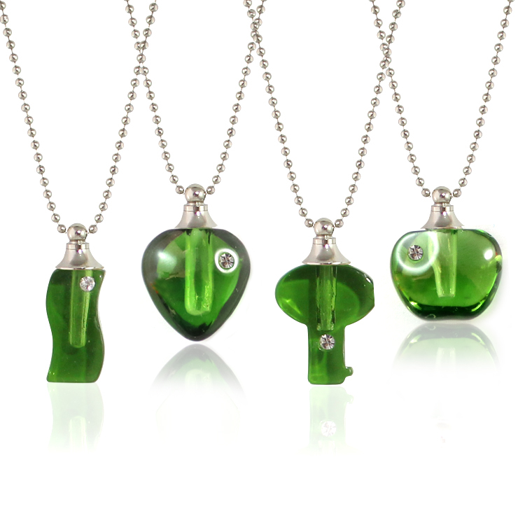Green Rhinestone Vials with Necklace Chain
