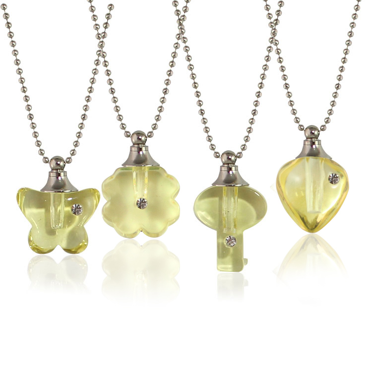 Yellow Rhinestone Vials with Necklace Chain