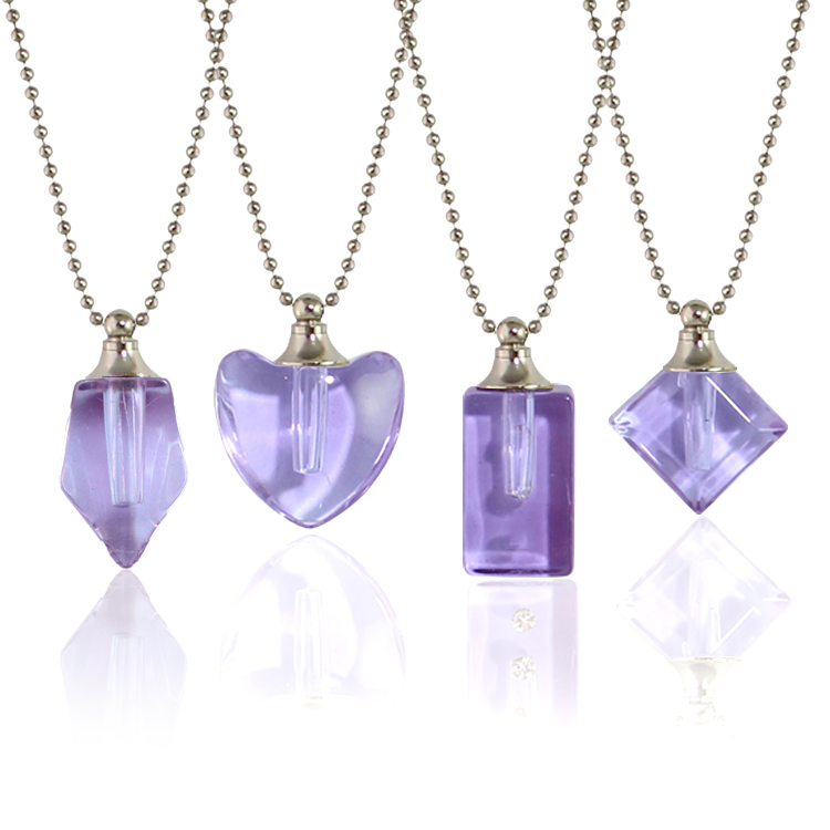 Purple Vials with Necklace Chain