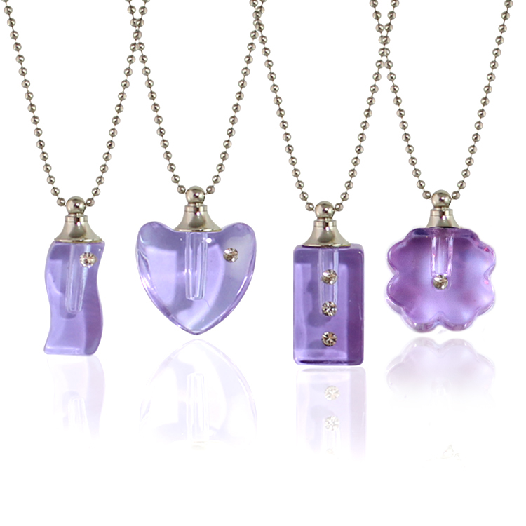 Purple Rhinestone Vials with Necklace Chain