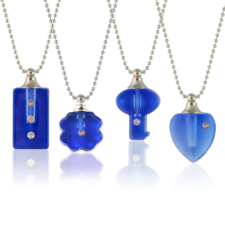 Blue Vials with Necklace Chain